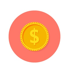 Gold dollar coin money circle flat icon vector