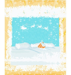 Happy new year card with santa and winter vector