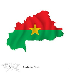 Map of burkina faso with flag vector