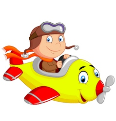 Little boy operating a plane vector