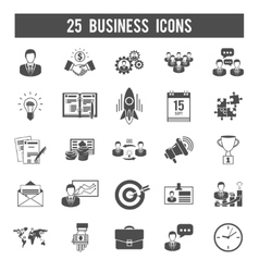Business startup black icons set vector