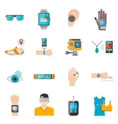 Wearable Technology Icons Set vector image
