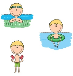 Cute swimmer boys in different situations vector