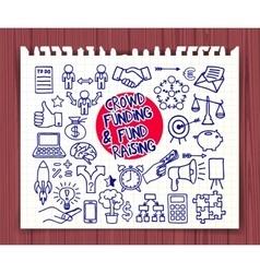 Crowd funding doodle set vector
