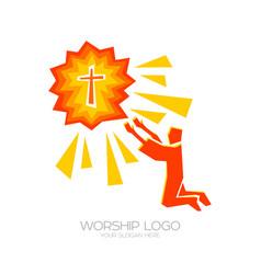 A man worships jesus christ vector