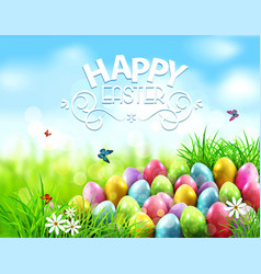 background easter eggs in green grass vector image vector image
