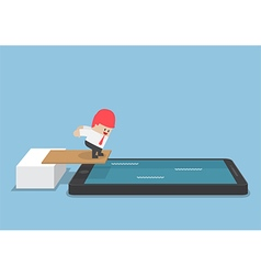 Businessman jump into smartphone pool vector image vector image