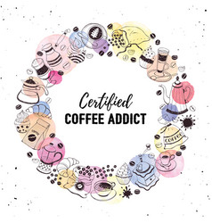 Coffee addict print vector