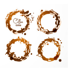 Coffee cup stains on white background vector