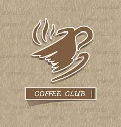 Coffee cup sticker on brown paper vector image vector image