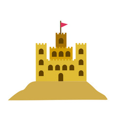 Color silhouette with sand castle vector
