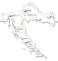 Croatia Black White Map vector image vector image