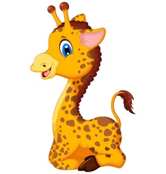cute baby giraffe cartoon sitting for you design vector image