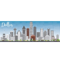 Dallas skyline with gray buildings and blue sky vector