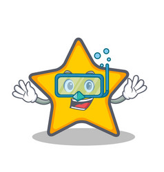 Diving star character cartoon style vector