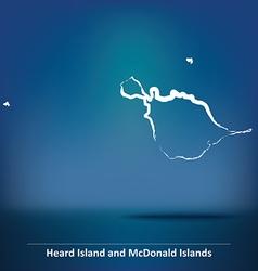 Doodle map of heard island and mcdonald islands vector