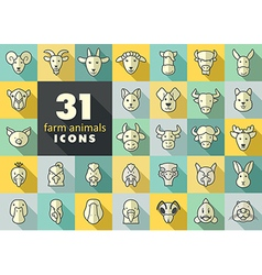 Farm animals icons set head vector image
