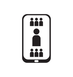 Flat icon in black and white mobile phone contacts vector