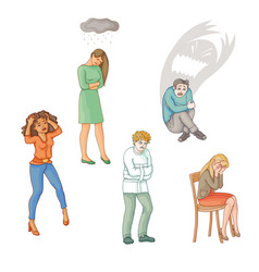 Flat people suffering from mental disorder illness vector