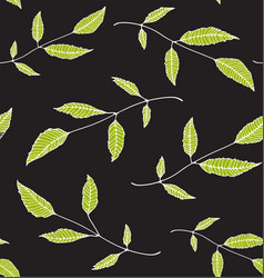 floral seamless pattern background green on black vector image vector image