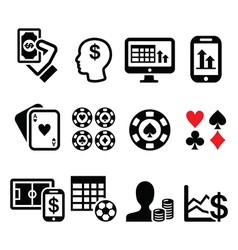 Gambling online betting casino icons set vector
