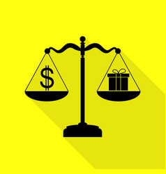 Gift and dollar symbol on scales black icon with vector