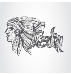Hand drawn profile of native american chief vector image