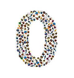 Large group of people in number 0 zero form vector