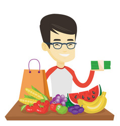 Man standing at the table with shopping bag vector