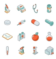 Medicine and health care isometric 3d icons vector image