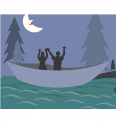 Nighttime fishing vector