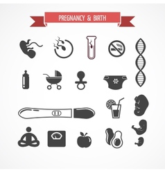 Pregnancy and birth icon set vector image vector image