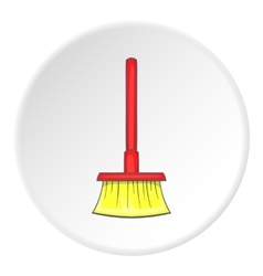 Red floor brush icon cartoon style vector