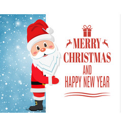 santa claus showing merry christmas vector image