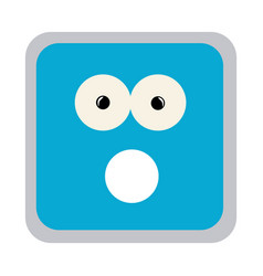 Square colorful shape emoticon puzzled expression vector
