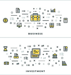 Thin Line Business and Investment Concepts for vector image vector image