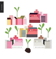 Urban farming and gardening - houses and sprouts vector