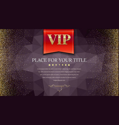 Vip or luxury red flag on dark polygonal vector