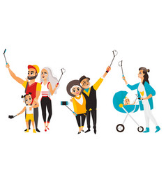 Young mother couple and family all making selfie vector