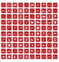 100 sneakers icons set grunge red vector image vector image