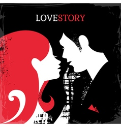 Love story silhouette of couple vector