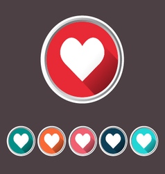 Heart set icons love icon flat web sign vector