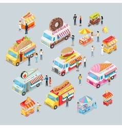 Cars for sale food and drink shop on wheels vector