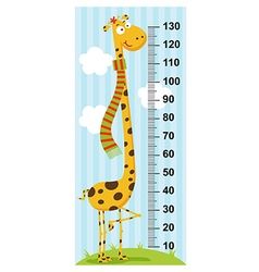 Long neck giraffe height measure vector