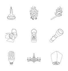 Light source set icons in outline style big vector