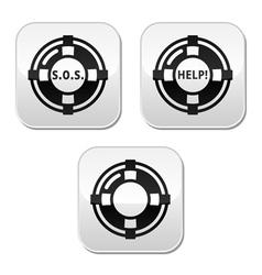 Life belt help sos buttons set vector image