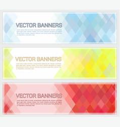 Abstract geometric mosaic horizontal banners vector