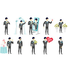 Young asian groom set vector