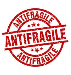 Antifragile round red grunge stamp vector