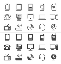 Communication device icons thin vector